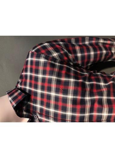 Abbate Kolay Ütülenır Klasık Yaka Ekose Slımfıt Casual Gömlek Kırmızı